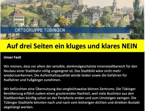 Stellungnahme des Schwäbischen Heimatbund zur geplanten Innenstadtstrecke
